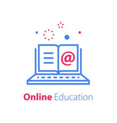 Online education open book and laptop vector