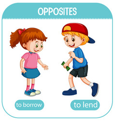 Opposite words with borrow and lend vector