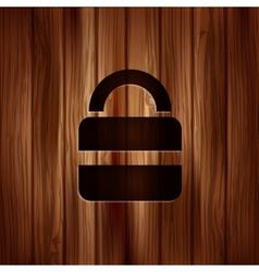 Padlock web icon Wooden texture vector