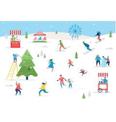people having fun at christmas vector image