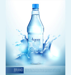 plastic bottle in splashes poster vector image