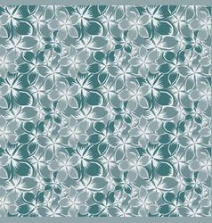 Plumeria flowers seamless blue style vector