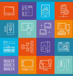 programming and computers lineart minimal iconset vector image