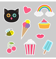 Quirky cartoon sticker patch set Summer time vector image