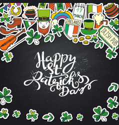 Saint patrick s day traditional symbols collection vector