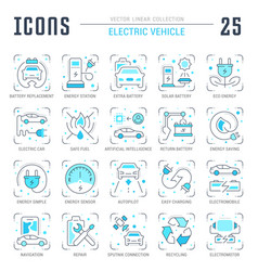 Set blue line icons electric vehicle vector