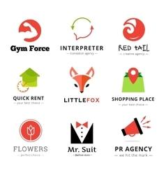 set bright modern logos vector image