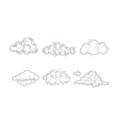 set fluffy clouds in sketch style vector image