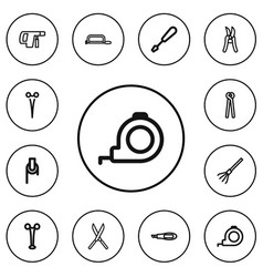Set of 12 editable tools outline icons includes vector