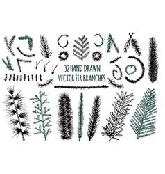 Set of 32 Hand Drawn Fir Branches vector