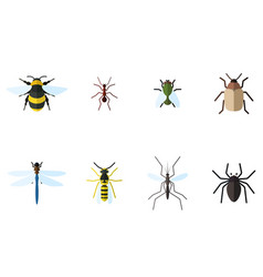 set of 8 insects flat icons vector image