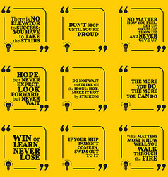 Set of motivational quotes about hope action hard vector