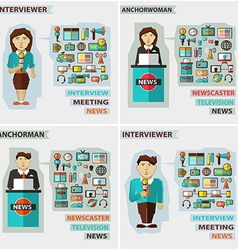 Set of professions Anchorman interviewer vector