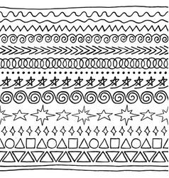 set sloppy ink-drawn seamless brushes vector image