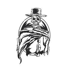 skeleton in cowboy hat vector image