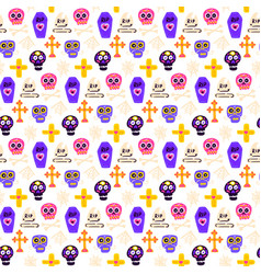 skull day dead seamless pattern vector image