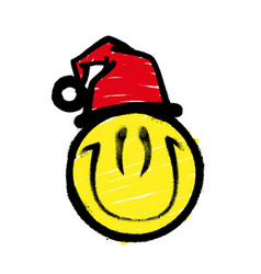 smiley graffiti in santa claus hat smiling vector image