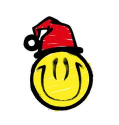 Smiley graffiti in santa claus hat smiling vector