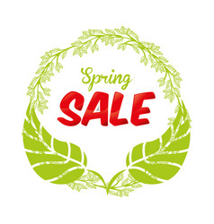 Spring leaves sale commerce poster vector