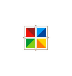square 3d window technology colorful logo vector image