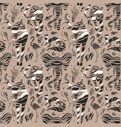 stylized wild animals hand drawn seamless pattern vector image