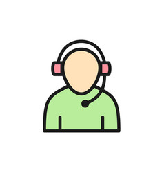Support worker flat color icon isolated on white vector