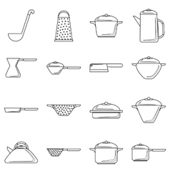 Tableware icons set outline style vector