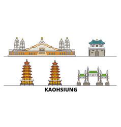 Taiwan kaohsiung flat landmarks vector