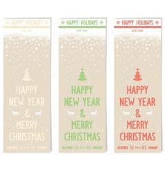 Three retro flyers on old paper for new year vector