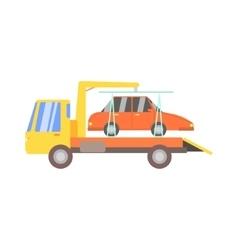 Truck evacuating red car vector