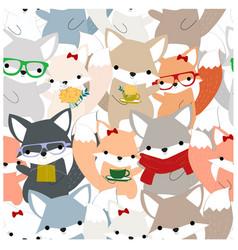 vintage seamless cute celebrated fox cartoon vector image