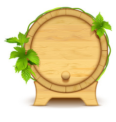 Wooden barrel for wine and beer green leaves of vector