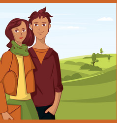 young couple cartoon in park with trees and sky vector image