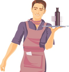 a young waiter with a tray vector image vector image