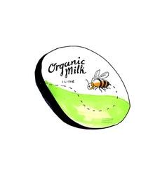 Bee Organic Milk Label Drawing vector image