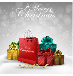 christmas decorations bag and gift boxes vector image vector image