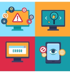 flat icons - internet security and virus vector image vector image