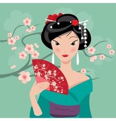 geisha with a fan vector image vector image