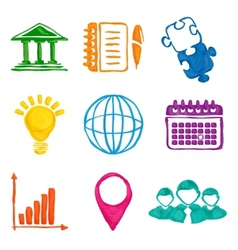 Paint business icons vector image vector image