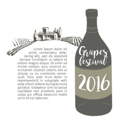Wine bottle with a grapevine Lodge vineyards vector image vector image