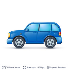 blue car isolated on white vector image vector image