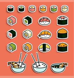 meal rolls sushi set vector image