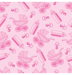 pattern from pacifier pram and baby bottle vector image