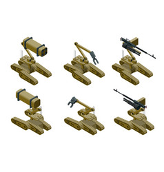set of a military robots of khaki color on white vector image vector image