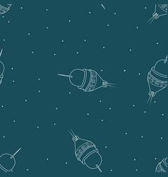spaceship seamless pattern rocket travel through vector image
