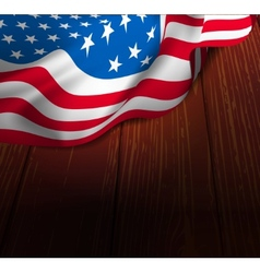 US flag on a wooden floor vector image vector image