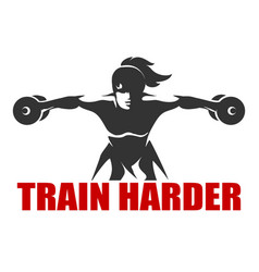 fitness emblem with slogan train harder vector image