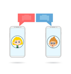 friend phones chating vector image