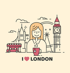 london icon with girl and tea vector image vector image