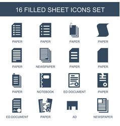 16 sheet icons vector